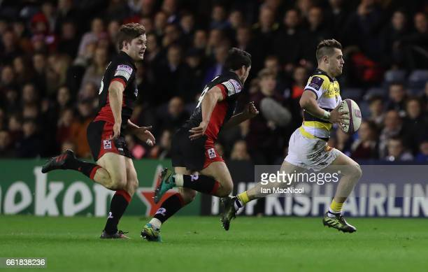 Arthur Retiere of La Rochelle runs with the ball during The European Challenge Cup match between Edinburgh and La Rochelle at Murrayfield Stadium on...