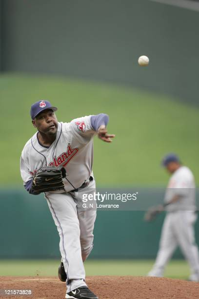 Arthur Rhodes of the Cleveland Indians took the loss against the Kansas City Royals on April 19 2005 at Kauffman Stadium in Kansas City Mo The Royals...