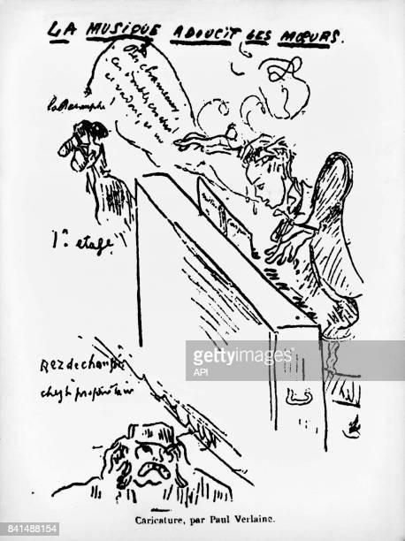 Arthur Rimbaud jouant du piano dans un dessin de Paul Verlaine