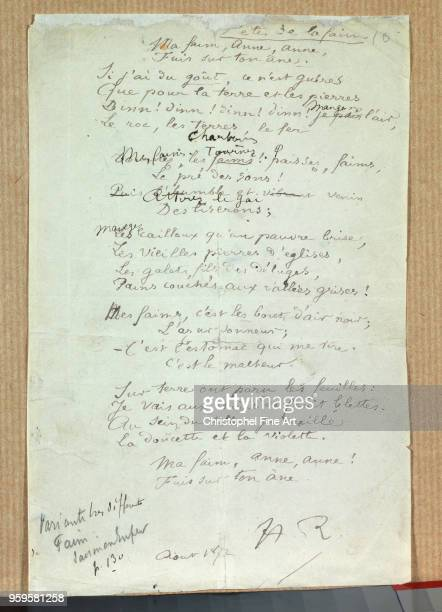 Arthur Rimbaud Manuscript of 'Fetes de la Faim' August 1872 CharlevilleMezieres Rimbaud Museum