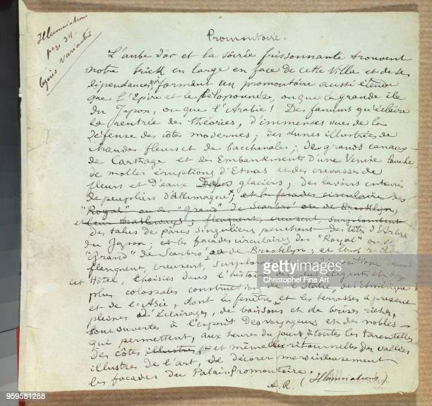Arthur Rimbaud Manuscript of the Poem 'Promontoire' CharlevilleMezieres Rimbaud Museum
