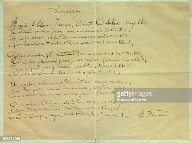 Arthur Rimbaud Manuscrit of the Poem 'Les Voyelles' CharlevilleMezieres Rimbaud Museum