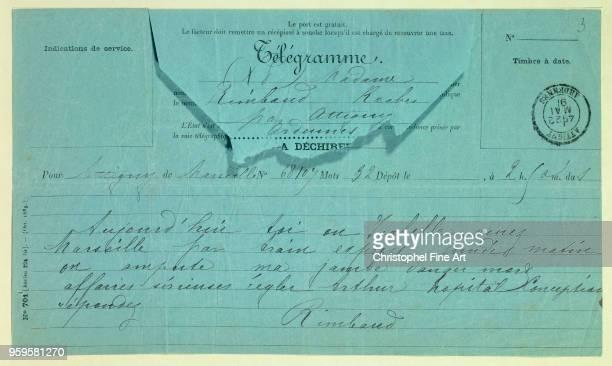 Arthur Rimbaud Telegram from Rimbaud to his Mother Marseilles May 22nd CharlevilleMezieres Rimbaud Museum