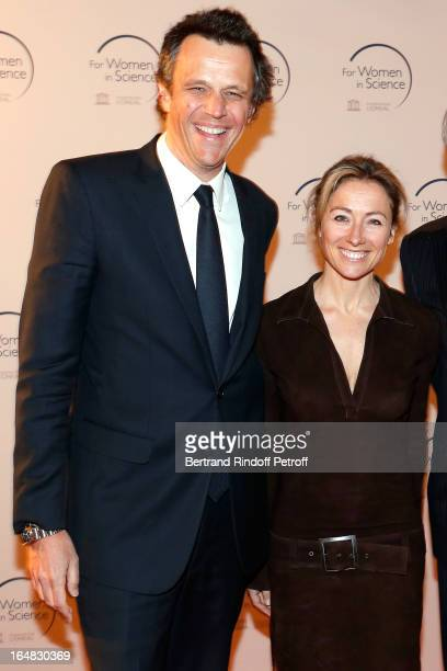 Arthur Sadoun and wife Anne Sophie Lapix attend 'L'OrealUNESCO Awards' For Women In Science 2013 Ceremony at La Sorbonne on March 28 2013 in Paris...