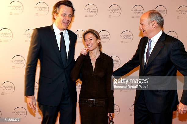 Arthur Sadoun and wife Anne Sophie Lapix with L'Oreal President JeanPaul Agon attend 'L'OrealUNESCO Awards' For Women In Science 2013 Ceremony at La...