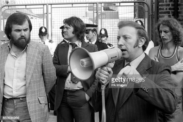Arthur Scargill during protests outside the Greenwick film processing plant in Willesden