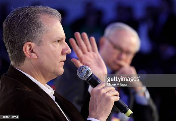 Arthur Sulzberger chairman and publisher of The New York Times and Hubert Burda publisher and DLDCoChairman discuss on the podium during the Digital...
