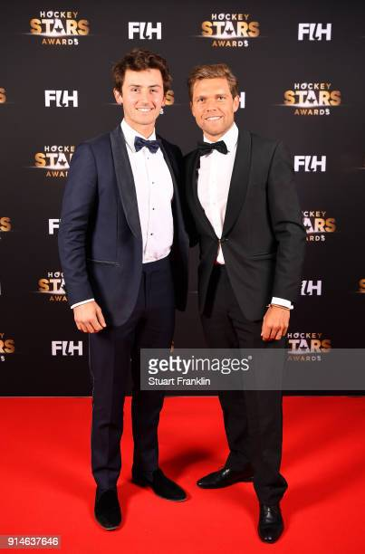 Arthur van Doren and Vincent Vanasch of Belgium pose for a picture during the Hockey Star Awards night at Stilwerk on February 5 2018 in Berlin...