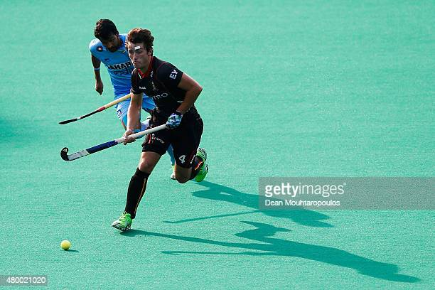 Arthur van Doren of Belgium gets past Yuvraj Walmiki of India during the Fintro Hockey World League SemiFinal match between India and Belgium held at...