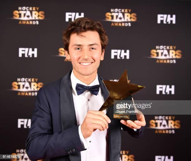 Arthur van Doren of Belgium holds his award for player of the year during the Hockey Star Awards night at Stilwerk on February 5 2018 in Berlin...