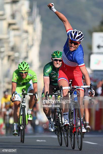 Arthur Vichot of France and FDJFR celebrates victory during stage 8 of the ParisNice race from Nice to Nice on March 16 2014 in Nice France