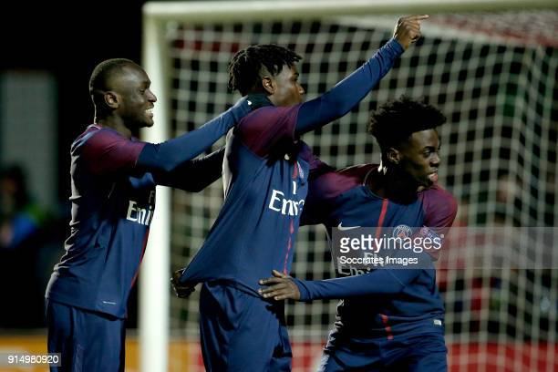 Arthur Zagre of Paris Saint Germain U19 Loic Mbe Soh of Paris Saint Germain U19 Timothy Weah of Paris Saint Germain U19 celebrates the victory during...
