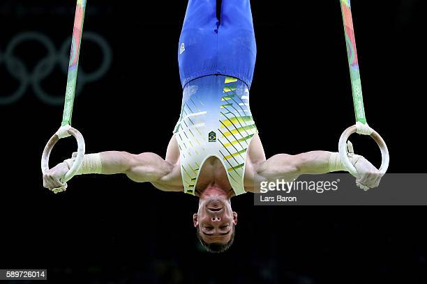 Arthur Zanetti of Brazil competes in the Men's Rings Final on day 10 of the Rio 2016 Olympic Games at Rio Olympic Arena on August 15 2016 in Rio de...