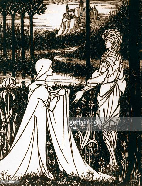 Arthurian legend King Arthur and the Lady of the Lake Engraving 19th century