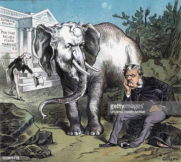 Arthur's awkward 'white elephant'' President Chester A Arthur sitting on a rock with a large white elephant that looks like Roscoe Conkling standing...