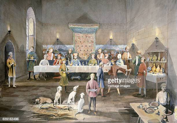 Arthur's Hall Dover Castle 14th century Interior view Reconstruction drawing of Arthur's Hall table feast in the 14th century A a medieval castle in...