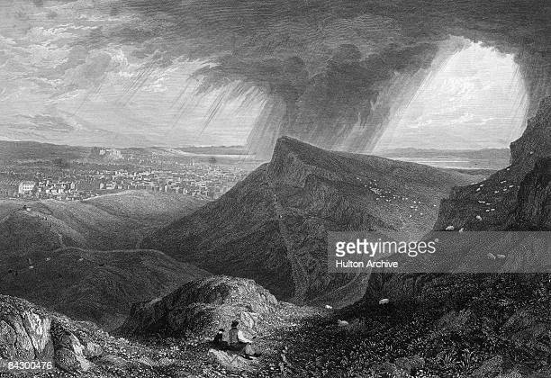 Arthur's Seat one of the hills in Holyrood Park in the centre of Edinburgh circa 1830 Engraving by WR Smith after a painting by Lt Col Batty