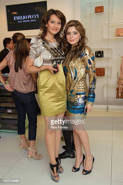 Arti Khanna and Kanika Chandok attend the Emilio Pucci cocktail party on June 18 2010 in London England