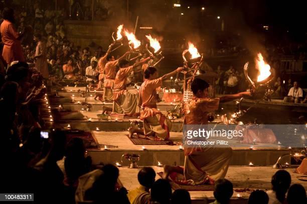 Arti prayer and ceremony over Diwali, Varanasi