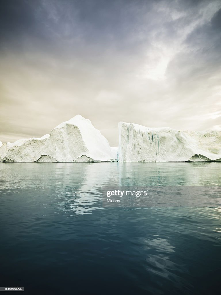 Artic North Pole Icebergs Greenland Fjord : Stock Photo