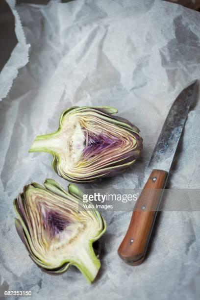 Artichoke bun cut in half