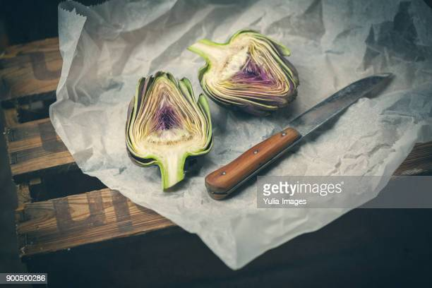 Artichoke bun cut in half