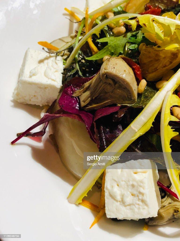 Artichoke, fennel and feta salad : Stock Photo