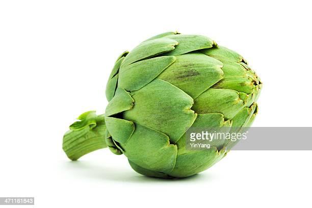 vegetali di carciofo verde fresco con spuntini cuore, isolato su bianco - carciofo foto e immagini stock