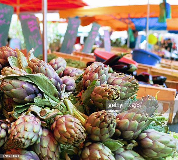Artichokes in a French village market