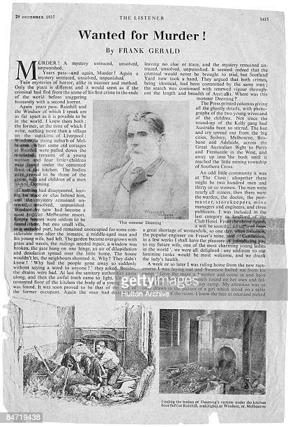 A 1937 article from 'The Listener' magazine on Englishborn Australian murderer Frederick Bailey Deeming In 1891 Deeming murdered his wife and four...