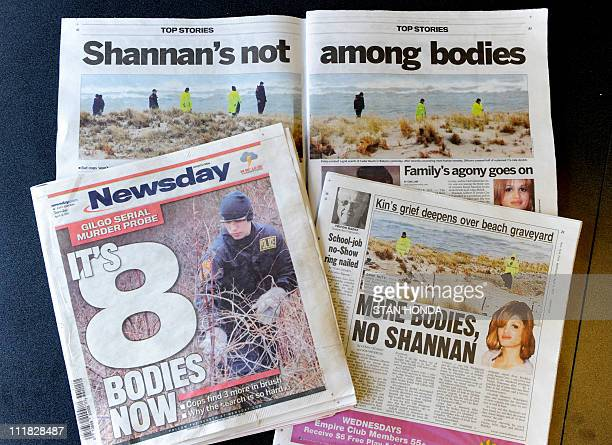 Articles about the recent discovery of bodies near a Long Island New York beach as seen in April 6 issues of Newsday and the New York Post newspapers...