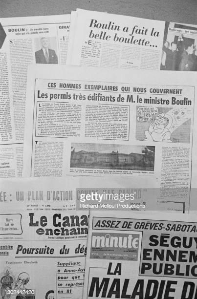 Articles de presse révélant une affaire immobilière réalisée par Robert Boulin en 1974 dans le sud de la France à Ramatuelle.