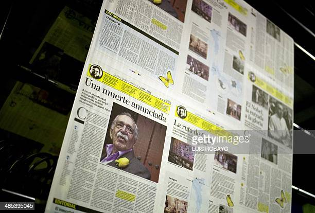 Articles of a local newspaper related to the death of Colombian 1982 Nobel Prize in Literature laureate Gabriel Garcia Marquez in Cali Valle del...