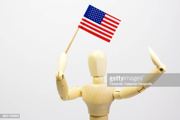 Articulated doll standard bearer with  the United States flag