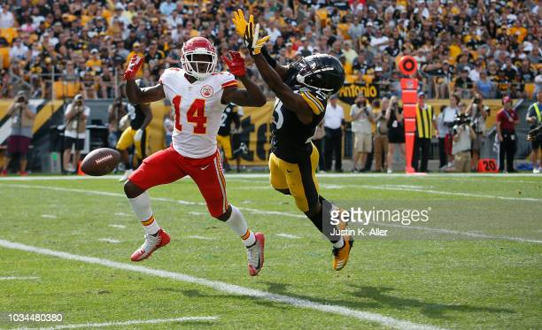 Artie Burns of the Pittsburgh Steelers breaks up a pass intended for Sammy Watkins of the Kansas City Chiefs in the fourth quarter during the game at...