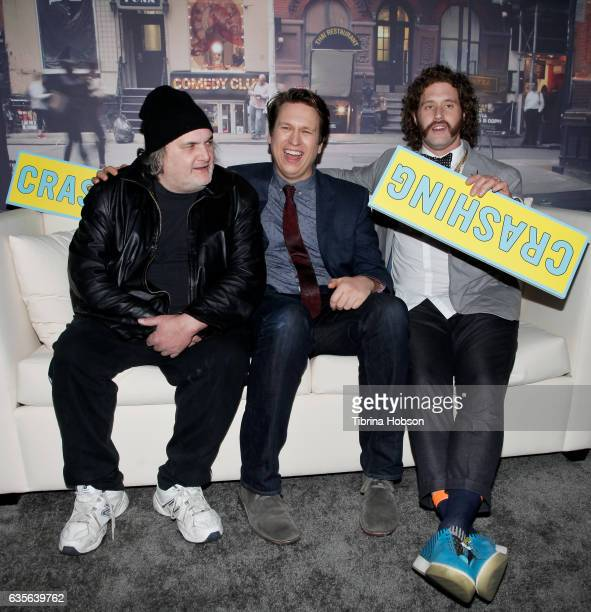 Artie Lange Pete Holmes and T J Miller attend the premiere of HBO's 'Crashing' after party on February 15 2017 in Hollywood California