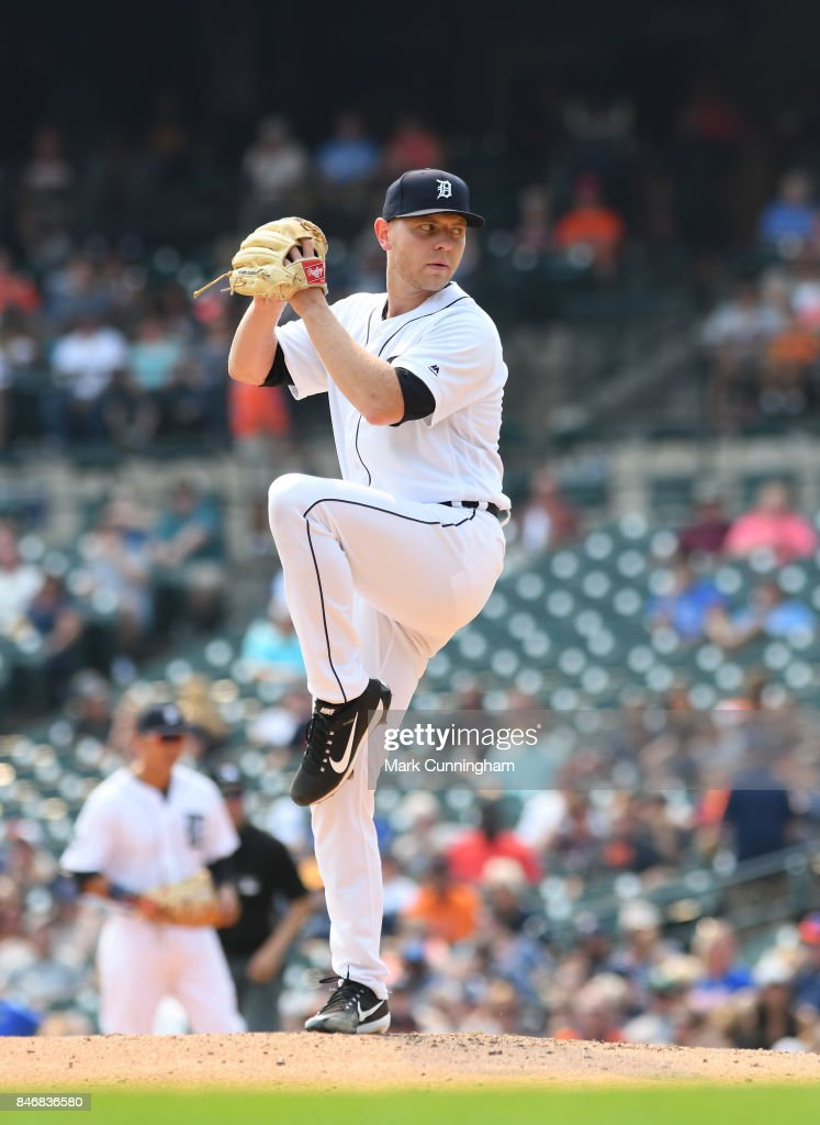 Artie Lewicki #57 of the Detroit Tigers pitches during his Major League debut game against the Kansas City Royals at Comerica Park on September 4, 2017 in Detroit, Michigan. The Royals defeated the Tigers 7-6.