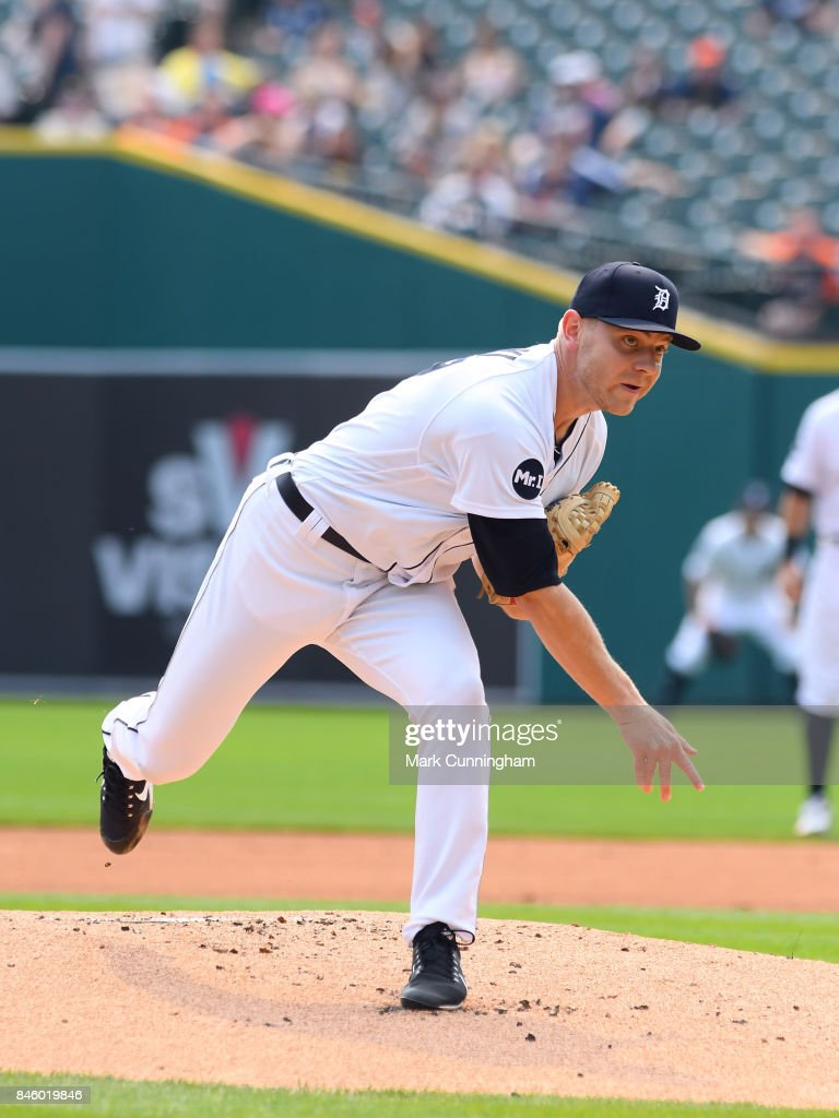 Artie Lewicki #57 of the Detroit Tigers pitches during the game against the Kansas City Royals at Comerica Park on September 4, 2017 in Detroit, Michigan. The Royals defeated the Tigers 7-6.