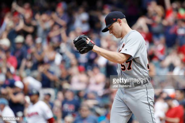 Artie Lewicki of the Detroit Tigers reacts after giving up a home run in the sixth inning against the Cleveland Indians at Progressive Field on June...