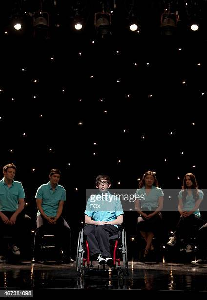 """Artie performs with his fellow glee club members in the """"Dream On"""" episode of GLEE airing Tuesday, May 18 on FOX. Pictured L-R: Cory Monteith, Harry..."""