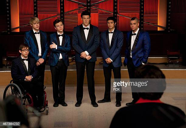 """Artie , Sam , Kurt , Finn , Mike and Puck perform for Coach Beiste in the """"Never Been Kissed"""" episode of GLEE airing Tuesday, Nov. 9 on FOX."""