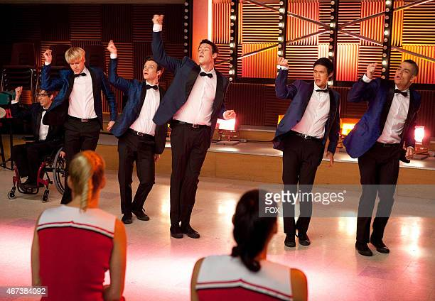 """Artie , Sam , Kurt , Finn , Mike and Puck perform in the """"Never Been Kissed"""" episode of GLEE airing Tuesday, Nov. 9 on FOX."""