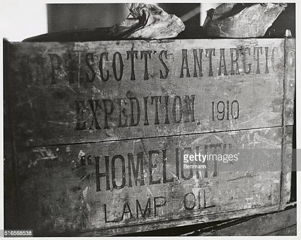 Artifact from Scott's antarctic expedition 1910 Photo shows a box carrying lamp oil