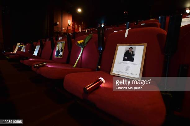 Artifacts and mementos related to the Troubles tke the place of audience members for the play Anything Can Happen 1972 in Derry Playhouse on...