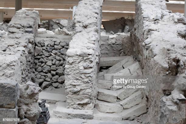 Artifacts and ruins of Akrotiri, Ancient Greek Minoan civilisation on Island of Santorini