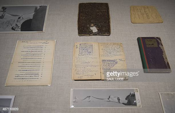 Artifacts belonging to American adventurer Wendell Phillips in southern Arabia now Yemen during an exhibition of his discoveries at the Smithsonian's...