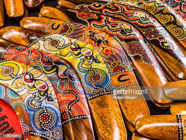 artifacts. boomerangs - boomerang stock pictures, royalty-free photos & images