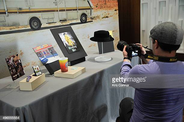 """Artifacts from AMC's """"Breaking Bad"""" including """"The Heisenberg Hat,"""" Tyvek suits, Hanks's DEA ID Card, Marie's DEA ID card, Marie's purple screw, Los..."""