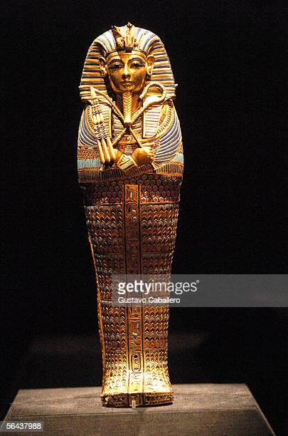 Artifacts on display at the press preview for 'Tutankhamun and The Golden Age Of The Pharaohs' at the Museum of Art Fort Lauderdale on December 14...