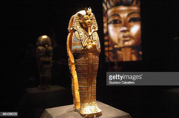 Artifacts on display at the press preview for 'Tutankhamun and The Golden Age Of The Pharaohs at the Museum of Art Fort Lauderdale on December 14...